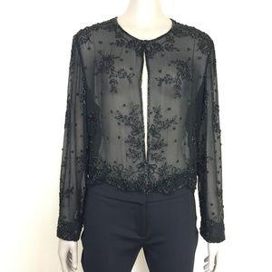 Marina Bresler sheer black beaded evening jacket